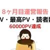 【60000PV】ブログ初心者開設 8ヶ月目運営報告【アクセス数・記事数】