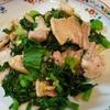 【1食78円】セロリの葉と豚バラの塩にんにく炒めの簡単レシピ〜フライパンでサッと作れる~
