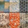 久留米絣とタッサーシルク半巾帯の組み合わせ