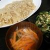 麻婆大根、小松菜卵炒め、スープ