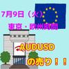 【7/9東京・欧州時間】AUDUSDが日足レンジブレイク!!ショート優勢!!