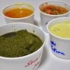 三軒茶屋の「サンバレーホテル」でAchari Chicken(semi dry)、Saag Mutton(Muslim Style)、North Indian Fish Curry、Kadhi Pakora(Onion)。