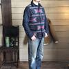 デラックスウェア/DELUXWARE ジャケット感覚で着てもらえるチマヨ柄ジャガード織ヘビーネルシャツ HV-34♪