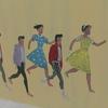 金沢駅地下に黒板アート『金沢今昔行列絵巻』が置かれていた