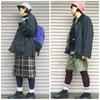 今日の服|秋の長雨…バブアーのオイルドジャケットとレインシューズのコーディネート×2パターン