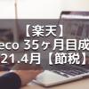 【楽天】ideco 35ヶ月目成績 21.4月【節税】