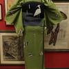 緑色モダン単衣小紋×モノトーン鳥柄夏名古屋帯