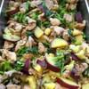 鶏肉とさつま芋、菜花の黒酢煮