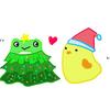 ぬいぐるみにサンタ帽とクリスマスツリーコスプレ作ってあげた