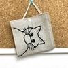 ねこ刺繍のマスクケース、図案を置く方法