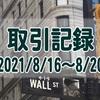 2021/8/16週の米国株オプション取引(確定利益$848、含み損$-7,739)