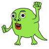 意気込む緑色のモンスター の無料イラスト