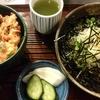 静岡の味 三久「桜えびのかき揚げ丼とおろし茶そばのセット」「静岡おでん(牛すじ・黒はんぺん)」
