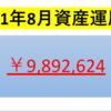 【2021年8月投資運用額】過去最高を記録!!1000万円の大台が目前!!