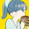 【フリーイラスト素材】ハンバーガーを食べる女の子