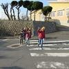登校の風景:横断歩道は手上げ横断