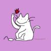 美味しく食べたい赤いモミジ ネコのイラスト