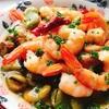 海老と空豆、マッシュルームのアヒージョ