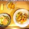 ゴーヤーチャンプルー、かぼちゃ煮物、豚肉野菜炒め、メロン