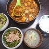 麻婆厚揚げ、白菜浅漬け、スープ