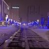 冬の悪天候、旭川駅前