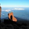鳥海山の影と私の影
