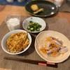 天丼(子供たちは天ぷらと素うどん)、オクラのおかか和え、鯵のマリネ