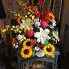 薪ストーブと花