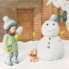 水彩画「はじめての雪だるま」