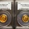 イギリス1911年ジョージ5世1ポンド&1/2PポンドPCGS PR66CAM