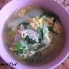 休日の朝にぱぱっと作れる♡ベーコンレタスの胡麻スープ