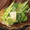 肴の山菜料理 【山菜の朴葉味噌】
