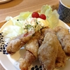 豚肉の梅しそ&チーズ巻き竜田揚げと鶏団子と白菜の味噌汁