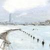 川岸から望む新潟市萬代橋と信濃川の雪景色