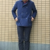 今日の服|Pコート型ジャケットとベレー帽とバスクシャツ。水兵さん風ネイビースタイルをピンクで和らげたコーディネート