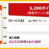 【ハピタス】au PAY カードが期間限定5,200pt(5,200円)にアップ! さらに最大10,000円Pontaポイントプレゼントも! 年会費無料! ショッピング条件なし!