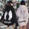 韓国ファッション レディース 天使の羽 モチーフ プルオーバー パーカー ストリート系 裏起毛
