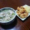 今日の晩飯 季節外れだけど…。冷や汁と鶏天を作ってみた