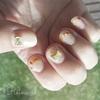 セルフネイルシアカラー花びらフレンチ×リボンスタッズネイル:春の歌モニター