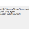 【Unity】The file 'MemoryStream' is corrupted! Remove it and launch unity again!