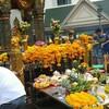 タイ・バンコク 街と祈りと黄色い花。