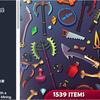 3D Items - Mega Pack トゥーンデザインの武器防具アイテムが1539入ったローポリ3Dモデルパック
