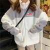 ボアジャケット ボアブルゾン ジップアップ オーバーサイズ 韓国ファッション レディース 防寒