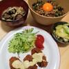 今日の夕食 納豆丼&カキフライ