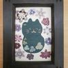 布絵 「猫と雪割草」