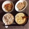 クリームシチュー、きんぴらごぼう、小粒納豆。