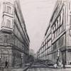 プラハの街並みをスケッチ