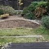 汚庭改造 1. 芝生はがしの途中で腰痛