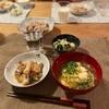 子供たちはごはん、れんこんと豚バラ炒め、キャベツとわかめの胡麻和え、みつばの卵とじ汁、白子ぽん酢