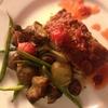 ローステッドグリーンチリとマッシュルーム入りミートローフにサンチョークと栗、いんげんと平茸、クミン風味焼きラディッシュのオレンジクランベリー生姜チリマリネの付け合わせ(覚書き)